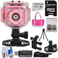 Precision Design K1 Kids HD Action Camera Camcorder (Pink) with Helmet & Handlebar Bike Mounts + 32GB Card + Case + Mini Tripod + Kit