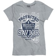 f1ac481a1a2c3 Protected By The Shield Savior Christian Shirt Religious Gift Ladies T-Shirt