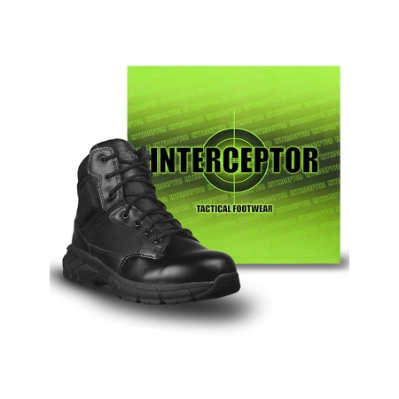 High Sneaker Boot - Interceptor Men's Guard Zippered Ankle High Work Boots, Slip Resistant, Black
