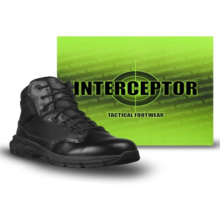 Interceptor Men's Guard Zippered Ankle High Work Boots, Slip Resistant, Black - Size 12 Wide Boots