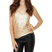3e2552b526bdc STARVNC Women Sleeveless V Neck Sequin Shirt Tank Top