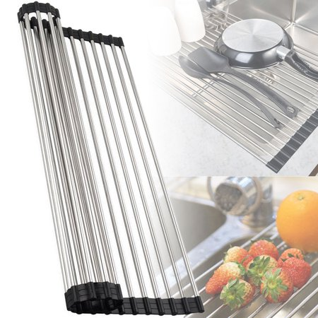 Stainless Steel Over The Sink Flexible Roll Up Dish Drying