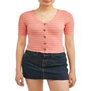 Juniors' Striped Rib Knit Button Front V-Neck Top
