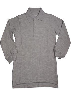 French Toast School Uniform Unisex Long Sleeve Pique Polo Shirt (Sizes 4-20), 33350 GREY / 4