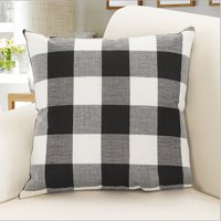 Outgeek Throw Pillow Case Classic Retro Plaid Pillow Cover Protector Cushion Cover for Home Office Car Decor 17.7'' x 17.7''