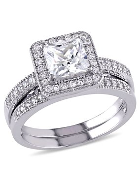 2-1/3 Carat T.G.W. Princess and Round-Cut Cubic Zirconia Sterling Silver Halo Bridal Set