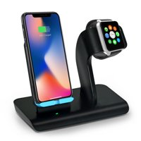 Aspectek Fast Wireless Charger, Qi Wireless Charging Pad Stand for iPhone Xs/iPhone X/iPhone Xr/iPhone 8/Samsung Galaxy S8, iWatch Charging Station/Docks for Apple Watch Series 4/3/2/1