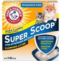 Arm & Hammer Super Scoop Clumping Cat Litter, Fragrance Free, 14-lb