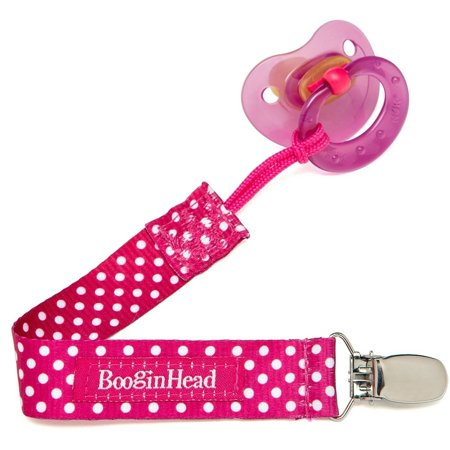 Pacifier Pod Holder (BooginHead PaciGrip Pink Polka Dot Pacifier Clip - 1 Count)