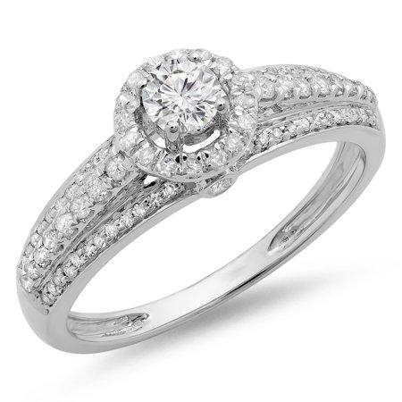 Dazzlingrock Collection 0.75 Carat (ctw) 14K Round Diamond Ladies Bridal Halo Style Engagement Ring 3/4 CT, White Gold, Size 7.5 (Halo Style Round Diamond)