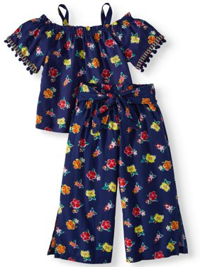 Poplin Cold Shoulder Top and Gaucho Pant, 2-Piece Outfit Set with Necklace (Little Girls & Big Girls)