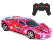 Best Choice Products Kids 27Mhz Battery-Operated Remote Control Racing Car RC Toy w/ Flashing LED Lights, 2-Button Controller - Red