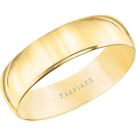 Men's 10kt Yellow Gold Wedding Band With High-Polish Finish, 5mm D-shaped Band Wedding Ring