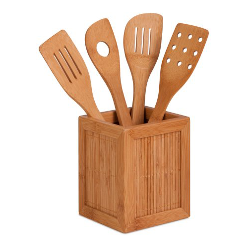 Honey Can Do Bamboo Utensil Set with Holder & Utensils
