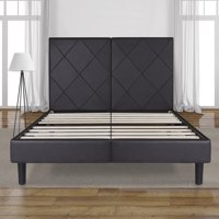 "GranRest 14"" Dura Metal Dark Brown Faux Leather Platform Bed, Full"