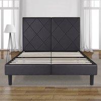 "GranRest 14"" Dura Metal Dark Brown Faux Leather Platform Bed, Full"