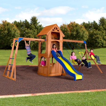 Backyard Discovery Parkway Wooden Swing Set Walmart Com