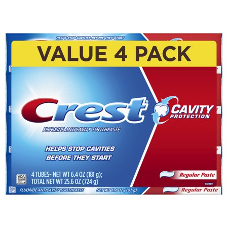 Crest Cavity Protection Regular Toothpaste, 6.4 oz, Pack of 4