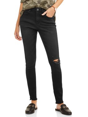 Attitude Unknown Women's Step Up Open Hem Destructed Skinny Jean