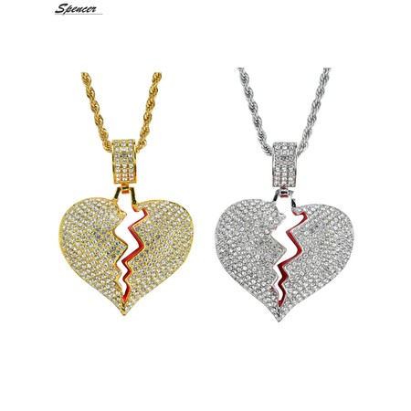 Spencer Iced Out Cubic Zirconia Broken Heart Pendant Necklace for Men and Women ()