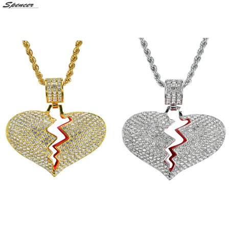 - Spencer Iced Out Diamond Broken Heart Pendant Necklace Chain for Men Women Couple Jewelry Gifts