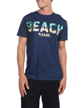 """Men's """"Beach Please"""" Short Sleeve Graphic T-Shirt, up to Size 3XL"""