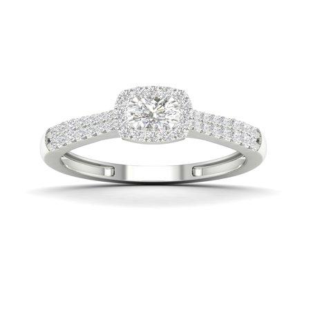 Diamond Patterned Shapes Ring (1/3Ct TDW Diamond 10k White Gold Cushion Shape Halo Engagement Ring (I-J, I2))