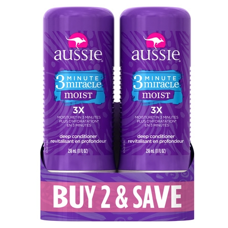 Aussie 3 Minute Miracle Moist Deep Conditioning Treatment, 8 Fl Oz (Pack of 2)