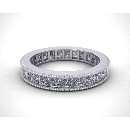 Natural 2.70Ct Princess Cut Diamond Channel Set Milgrain Women