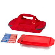 Pyrex Bright Red Portable with 3-Quart Oblong Baker and Hot/Cold Pack