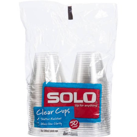 Solo Clear Cups, 9 Oz, 50 Count - Blue Solo Cups