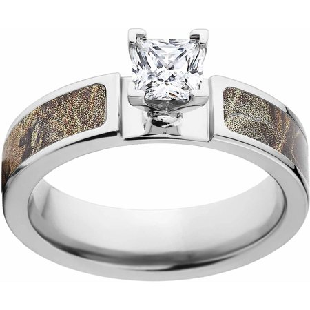 Max 4 Women's Camo 1 Carat T.G.W. Princess CZ in 14kt Whit Gold Prong Setting Cobalt Engagement Ring with Polished Edges and Deluxe Comfort Fit
