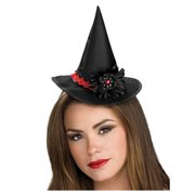 20495d5c5fb Women s Deluxe Black Mini Witch Hat With Flower Accent