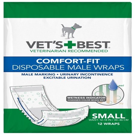 Vet's Best Comfort Fit Disposable Male Dog Diapers | Absorbent Male Wraps with Leak Proof Fit | Small, 12 Count ()