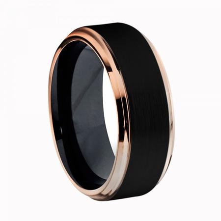 8mm Two-Tone Black IP & Rose Gold IP Brushed Center Step Edge Titanium Ring Wedding Band Ring For Men Or Ladies