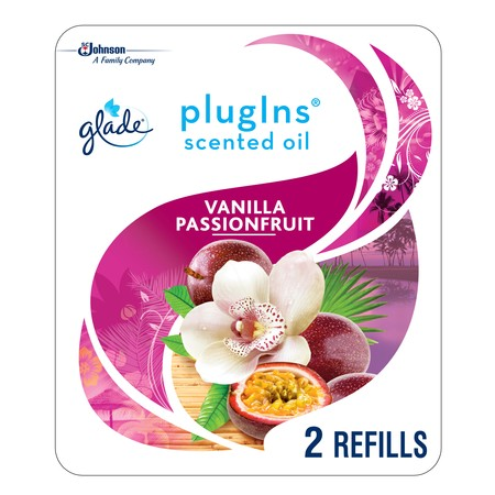 Passion Fruit Home Fragrance Oil (Glade PlugIns Scented Oil Refill Vanilla Passion Fruit, Essential Oil Infused Wall Plug In, Up to 100 Days of Continuous Fragrance, 1.34 oz, Pack of 2)
