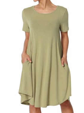 TheMogan Women's S~3X Short Sleeve Draped Jersey Knit Pocket A-Line T-Shirt Dress