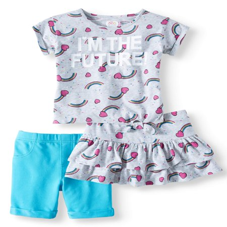 Side-Tie Top, Bermuda Short & Skort, 3-Piece Mix and Match Outfit Set (Little Girls & Big Girls) - Girls Clothes