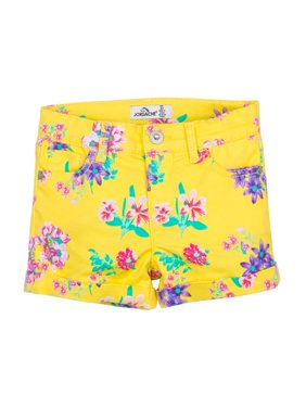 Roll Cuff Floral Shorts (Toddler Girls)