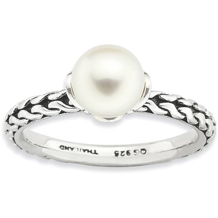 7.0-7.5mm White Freshwater Cultured Pearl Sterling Silver Ring