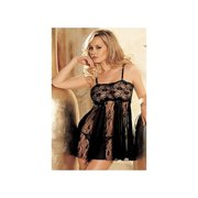 2d16693449a Shirley of Hollywood Stretch Lace   Sheer Net Babydoll 96120 Black One Size  Fits