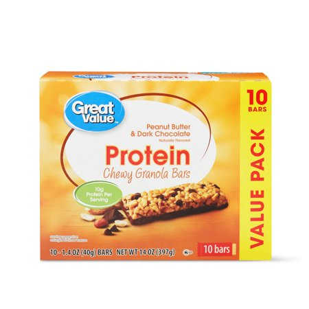 Great Value Protein Chewy Granola Bars, Peanut Butter & Dark Chocolate, 14 oz, 10 Count Chewy Granola Bar Peanut Butter
