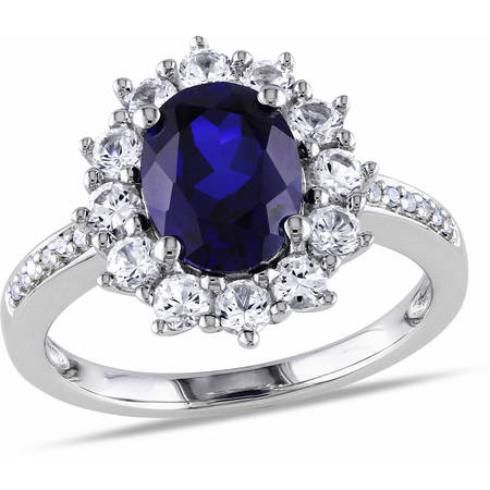 4 Carat T.G.W. Oval-Cut Created Blue and White Sapphire and Diamond-Accent Sterling Silver Halo Engagement Ring