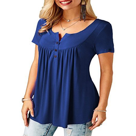 JustVH Women's Solid Henley V-Neck Casual Blouse Pleated Button Tunic Shirt Top