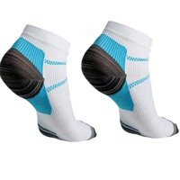 Plantar Fasciitis Socks 2 PAIR Heel Pain Foot Pain Relief Arch Support Running Gym Compression Foot Socks & Low Cut Foot Sleeves FREE Eyeglass Pouch by Juniper's Secret (White/Blue, S/M)