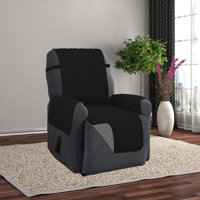 Linen Store Quilted Reversible Microfiber Pet Dog Couch Furniture Protector Recliner Cover (Black / Gray)