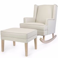 Barton Leather Rocking Chair Glider & Ottoman Set with Cushion, Beige