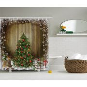 Vintage Christmas Tree Holiday Presents Shower Curtain Waterproof Polyester Fabric Bath Brown Green Red 72