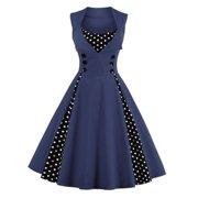 72d1b99dfa0 Plus Size Womens 50s 60s Vintage Retro Dress Swing Rockabilly Evening Cocktail  Party Skirt V Neck