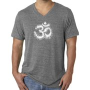 Mens Tie Dye Om Symbol Yoga V-neck Tee - Grey Triblend, XL